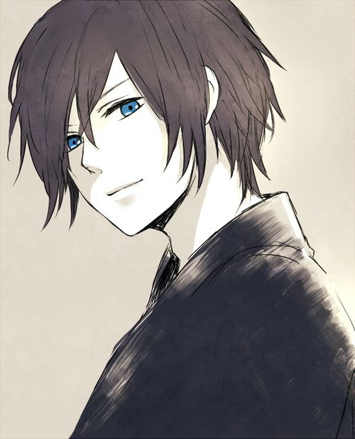 brown Anime and eyes with guys hair blue
