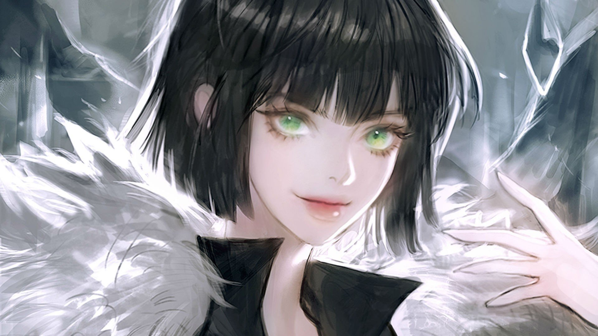 and black green Anime hair girl eyes with
