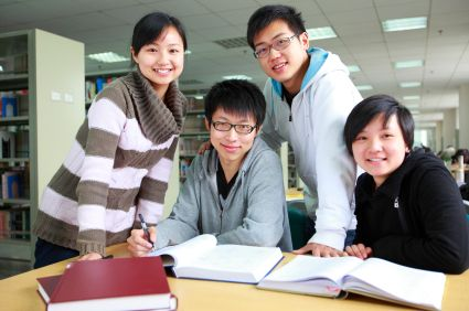 college students with Working asian american