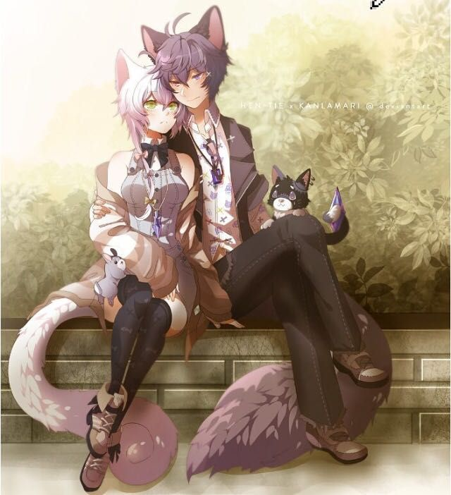 cat and girl boy Anime