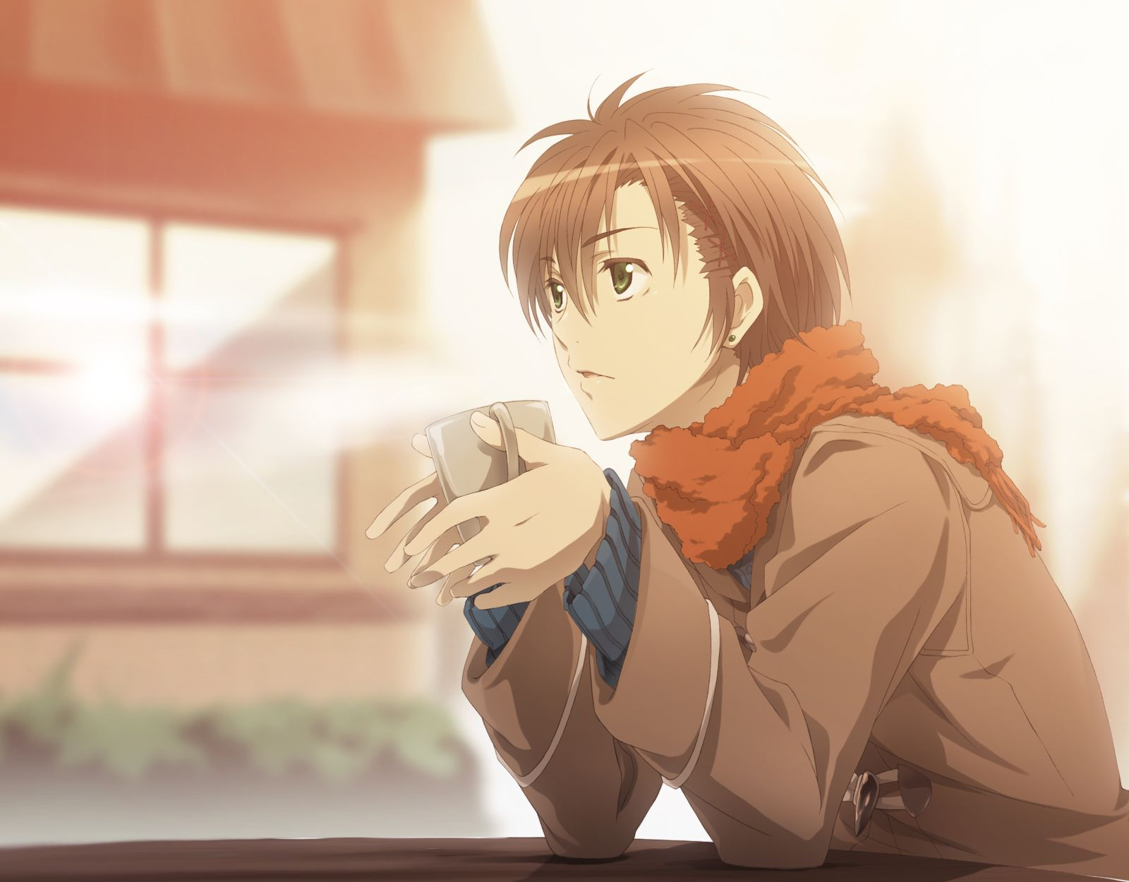 Anime guy with brown hair and green eyes
