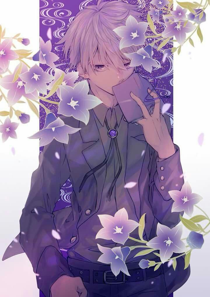 guy and white eyes with purple hair Anime